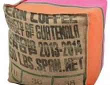 Pouf tissu recyclé et toile Artiga, made in France, Lilokawa