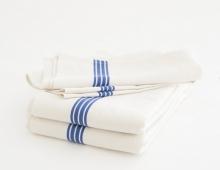 Torchon en lin lavé, bandes bleues ou rouges, en vente sur Landmade