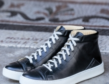 Sneakers montants cuir noir, made in France, Atelier PM