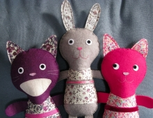 Doudous chat et lapin, Kolinoste, made in France