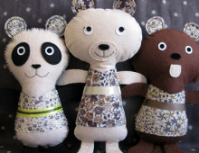 Doudous panda, ours et castor, Kolinoste, made in France