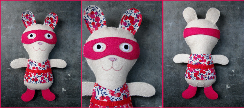 doudou super-lapin Kolinosté, fait main, made in Paris
