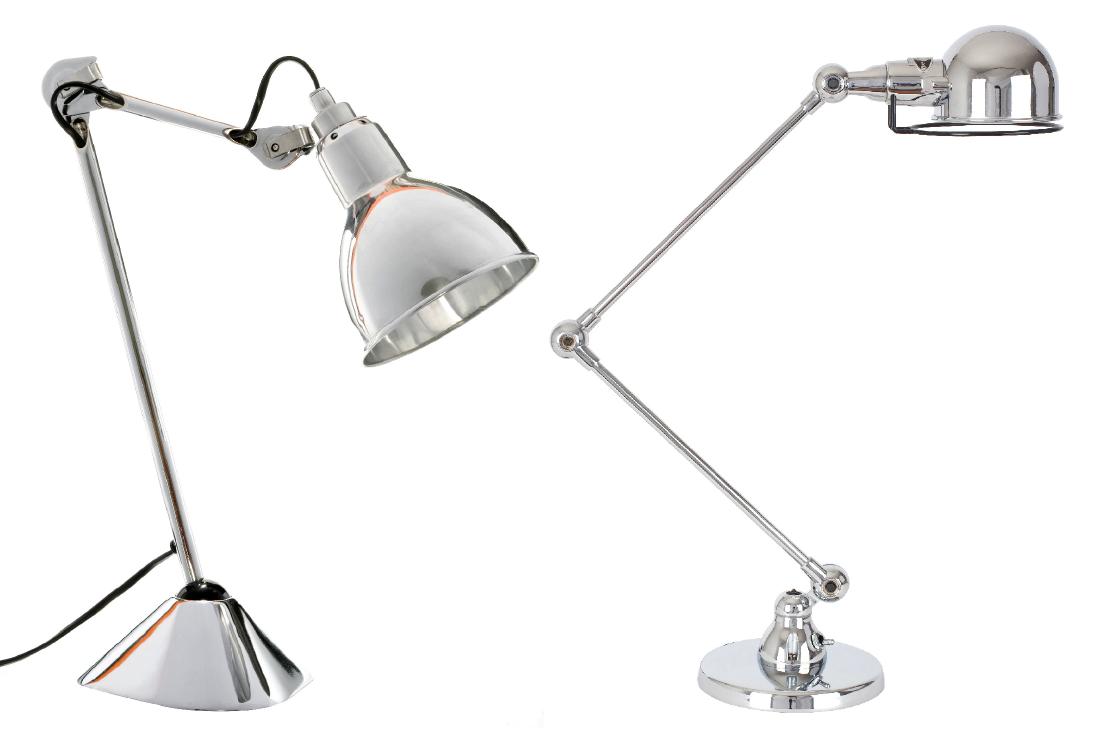 Lampes Gras 205 (à gauche) et Jieldé S1333 (à droite) : deux icônes du design industriel de la première moitié du 20 e siècle.