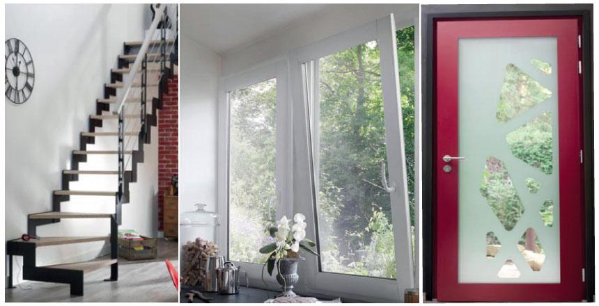 Escalier, fenêtre et portes fabriqués en France par Lapeyre. © Lapeyre