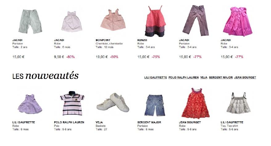 Exemples de produits enfants d'occasion