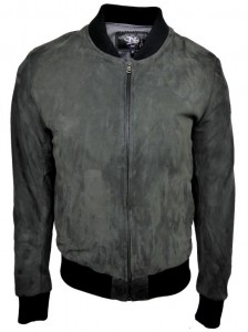 DKS - blouson en daim vert de gris, made in France