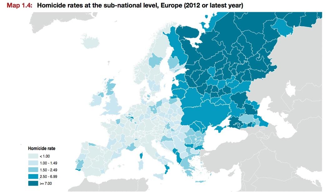 Taux d'homicides en Europe, par régions et sous-régions