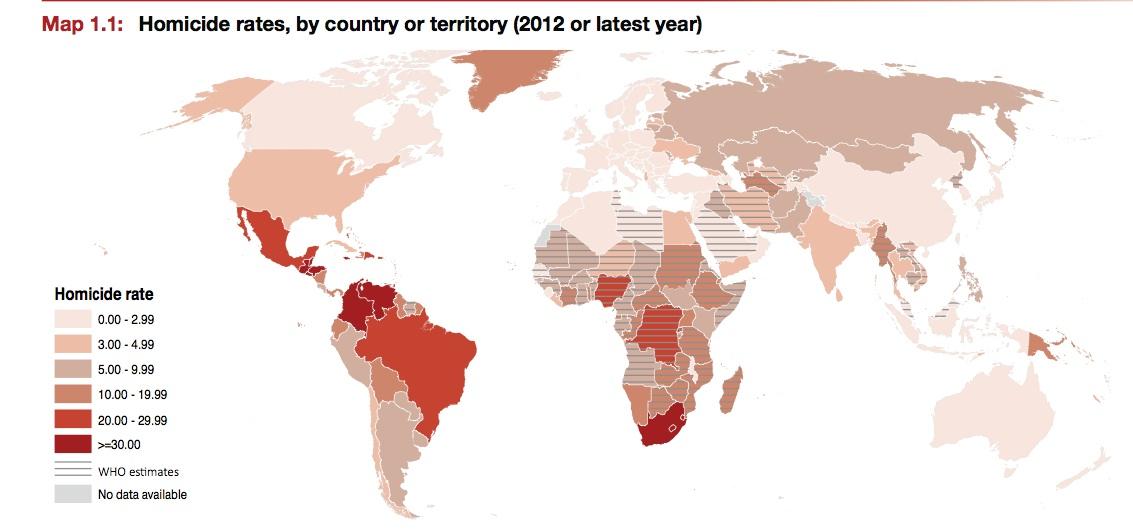 Taux d'homicides, par pays