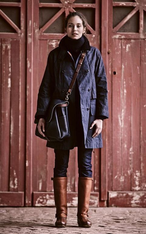 Redingote, sac et bottes made in France, pour femme
