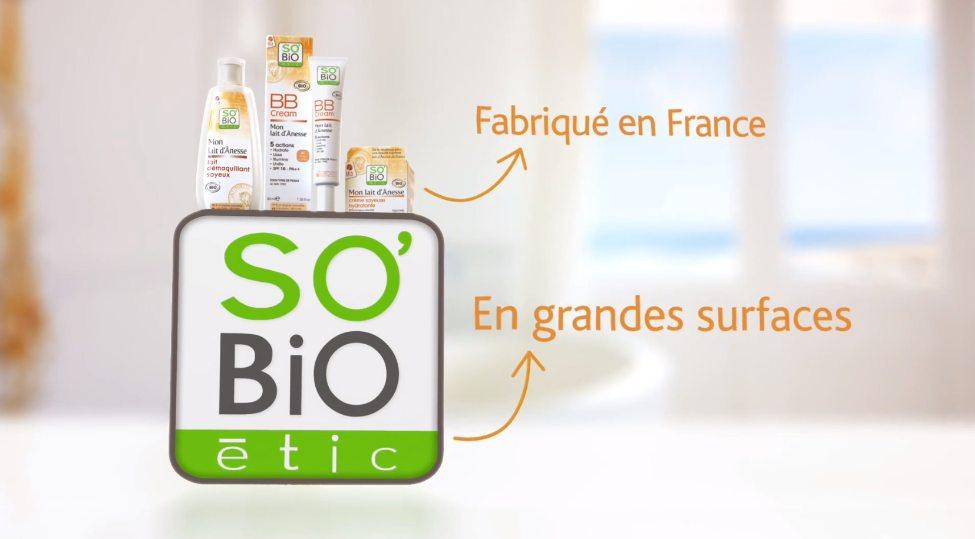 Les cosmétiques So'Bio sont fabriqués e France et vendus en grandes surfaces.