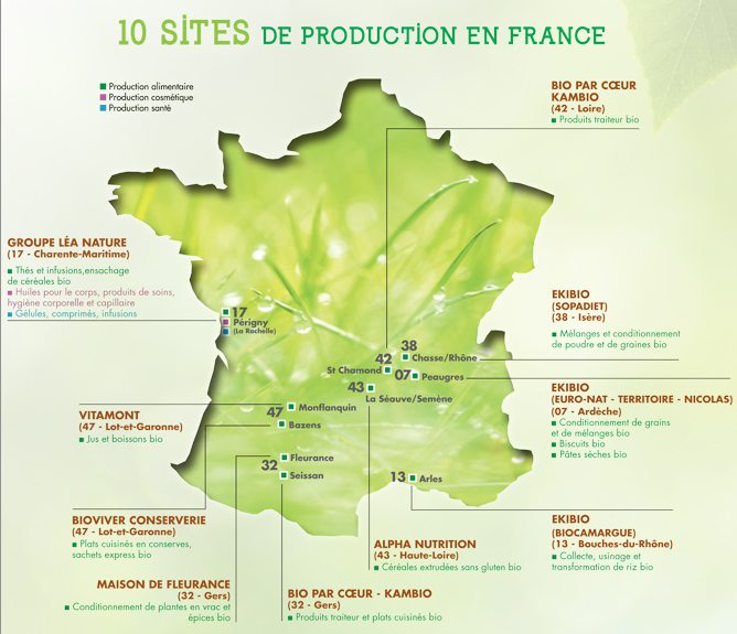 Sites de production Lea Nature en France