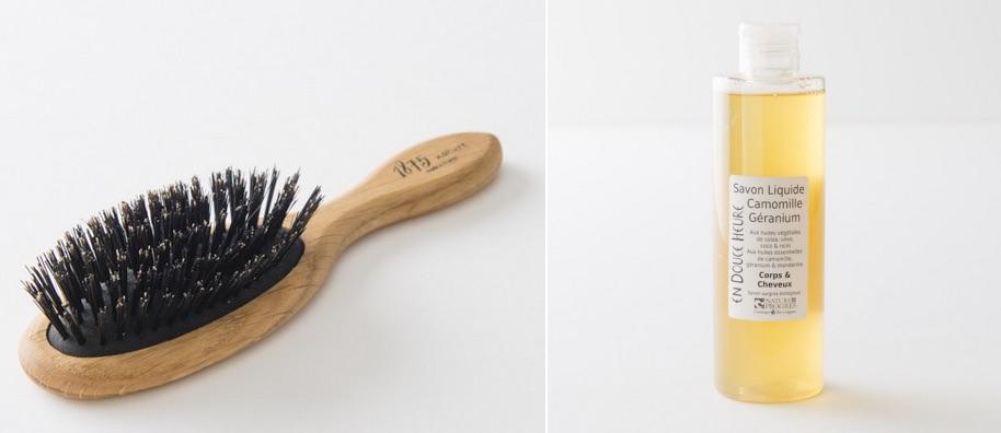 Brosses à cheveux en bois, latex et poils de sanglier et savons liquides bio made in France: en vente sur landmade.fr
