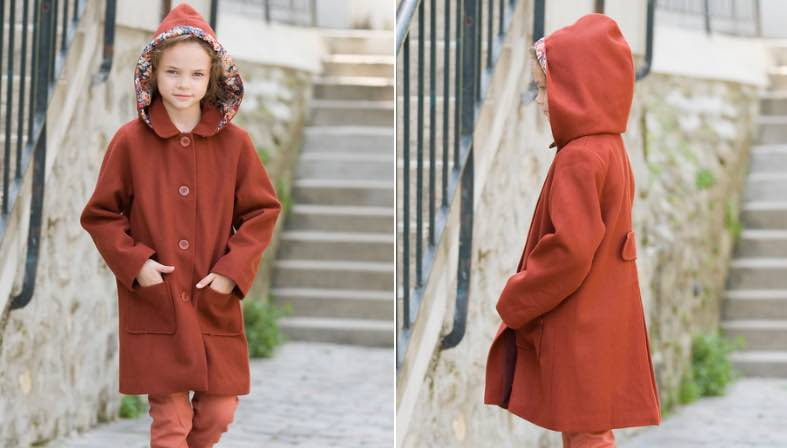 Manteau petite fille made in France chez Marie Puce
