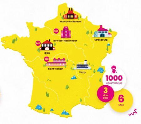 Sites de production et centre R&D de Carambar&Co en France