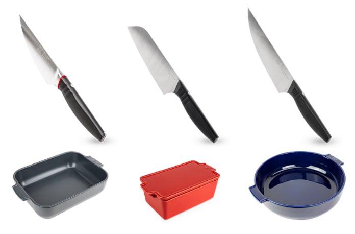 Couteaux Peugeot Saveurs, fabriqués à Thiers, et plats fabriqués en Bretagne.