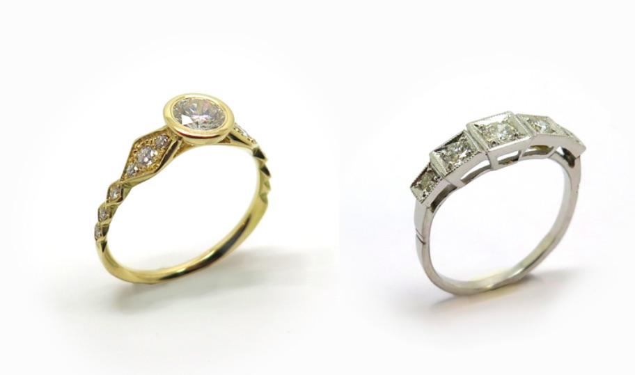Bagues de fiançailles fabriquées à la main à Paris par Philomène Thebault.