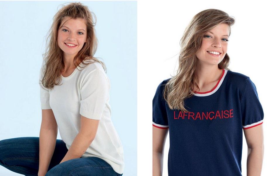 Pulls manches courtes La Française, fabriqués en France, en Normandie.