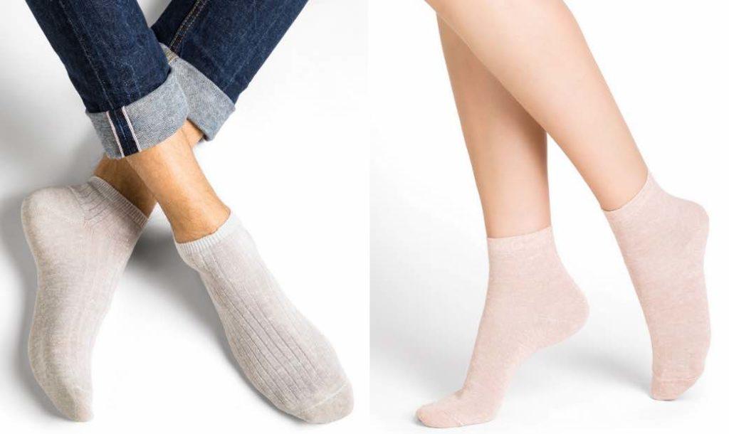 Chaussettes en lin pour homme et femme, fabriquées en France par Bleuforêt.