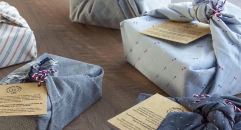La Gentle Factory commercialise des Furoshikis, des tissus pour emballer les cadeaux.