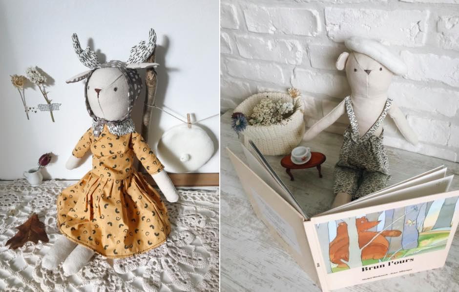 Les poupées-doudous de Luna Room sont fabriquées en France, dans du coton biologique. Leurs vêtement également.
