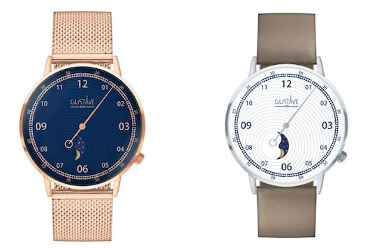 Montres phases de lune made in France, par Gustave & Cie
