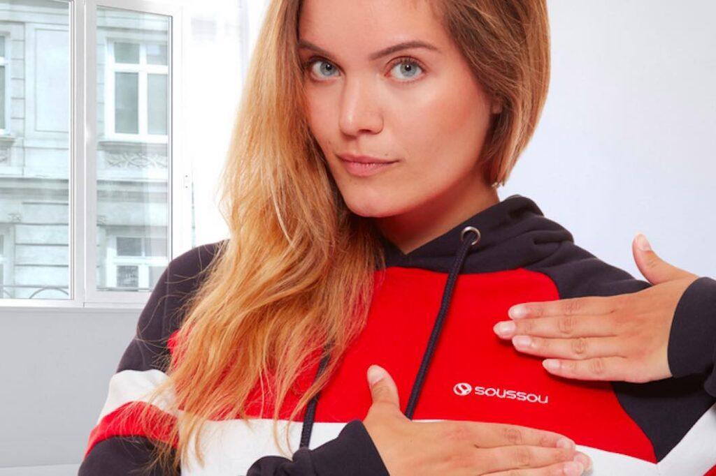 Sweat-shirt à capuche conçu et designé en France, par Soussou Sportswear, puis fabriqué au Portugal.