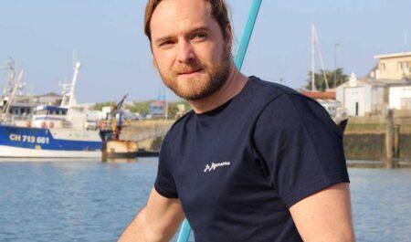 T-shirt homme bleu marine, made in France, Jo Bigorneau.
