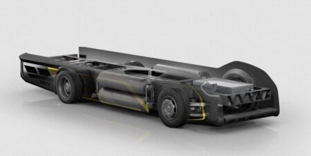 """Châssis de camion électrique Gaussin, également applelé """"skate-board""""."""