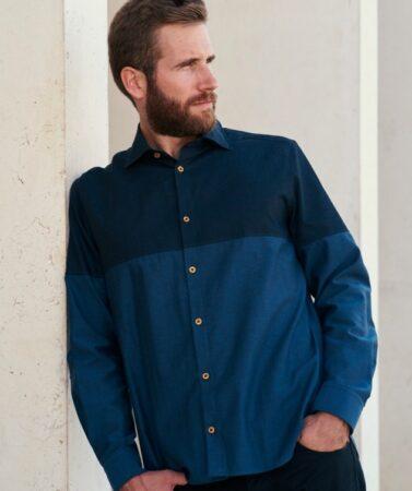 Le Modeste, chemise homme bleu et bleu, fabriquée en France.