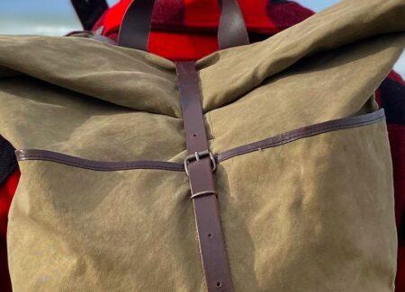 Sac à dos homme en toile et cuir, fabriqué en France. Les Alliés.com