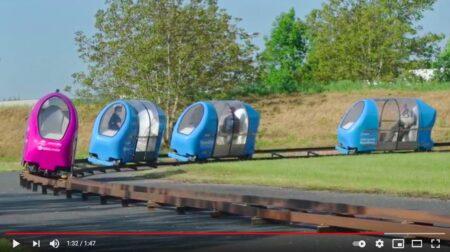 Capsules Urbanloop, à la fois transport individuel et collectif.