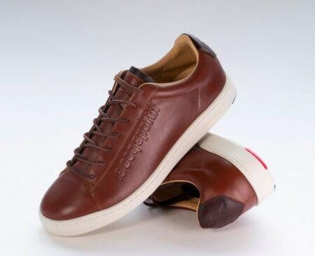 Blazon Casual marron, tennis cuir fabriquée en France par Le Coq Sportif.